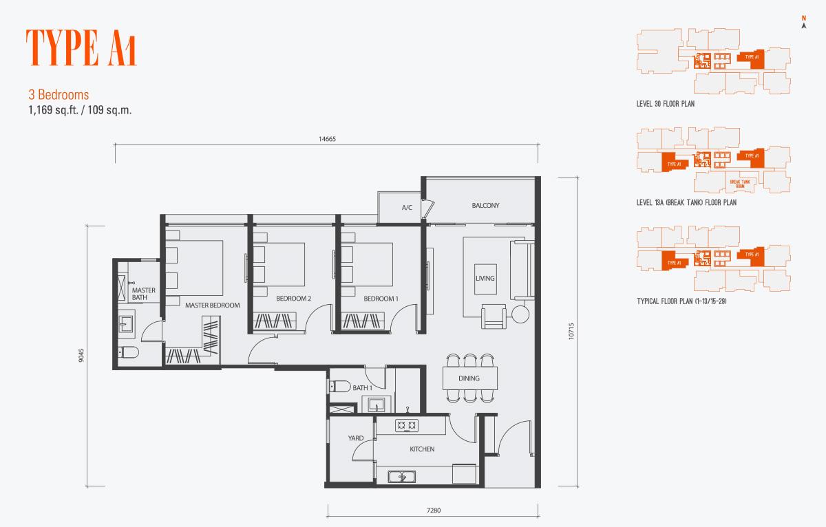 Floor Plan of Type A1 Condo gen KL