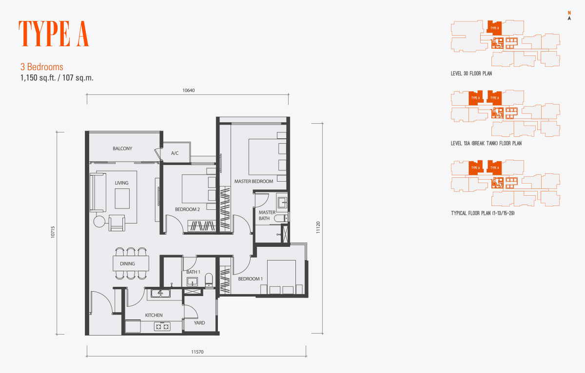 Floor Plan of Type A Condo gen KL