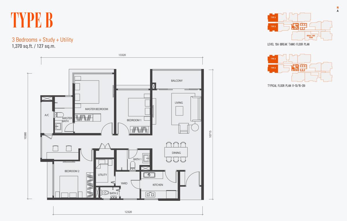 Floor Plan of Type B Condo gen KL