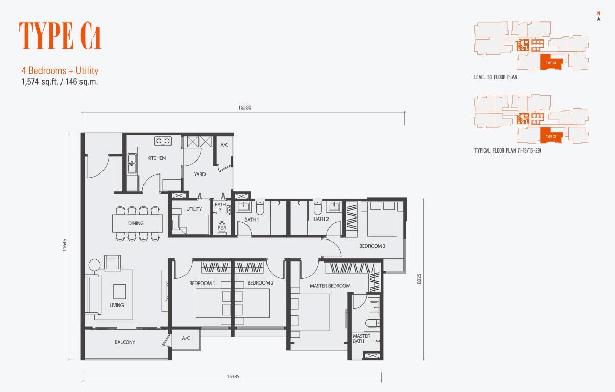 Floor Plan of Type C1 Condo gen KL