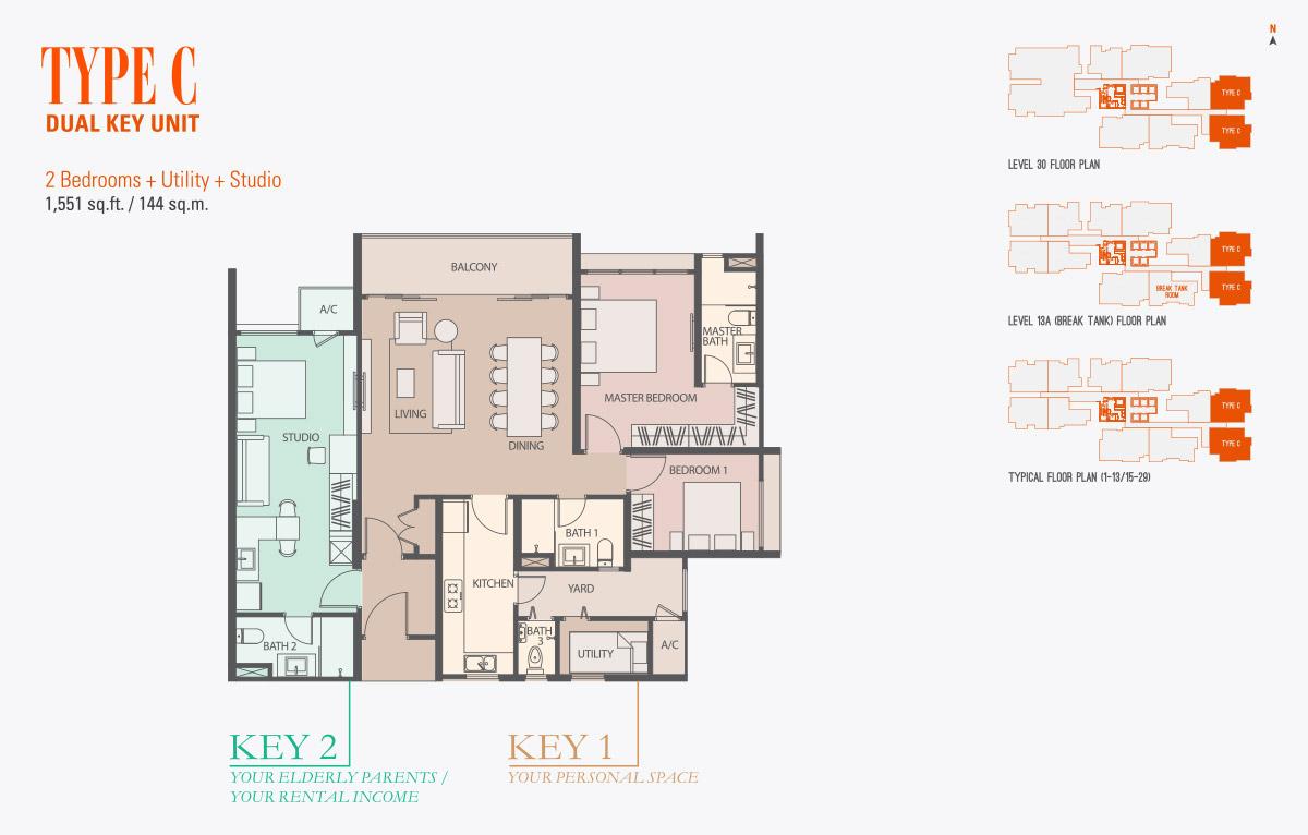 Floor Plan of Type C Condo gen KL