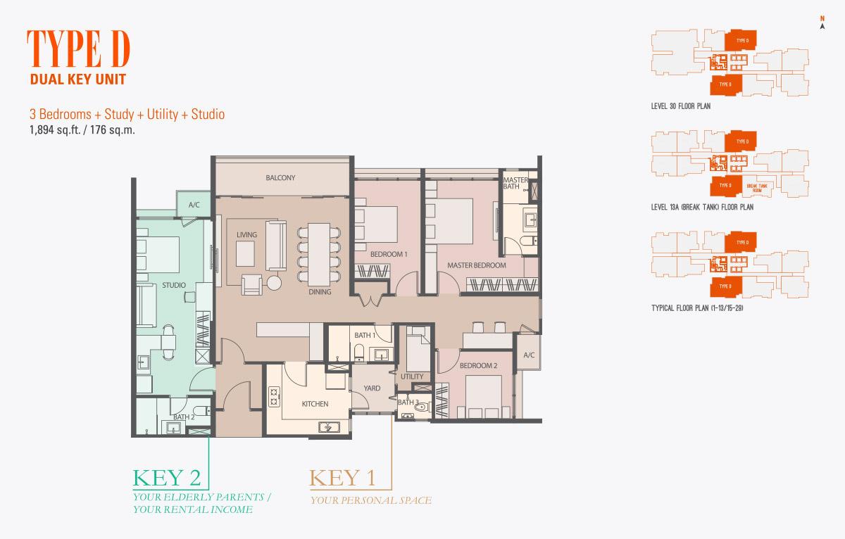 Floor Plan of Type D Condo gen KL